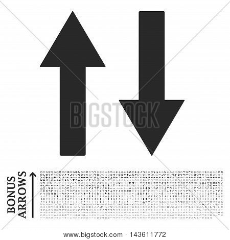 Vertical Flip Arrows icon with 1200 bonus arrow and navigation pictograms. Glyph illustration style is flat iconic symbols, gray color, white background.