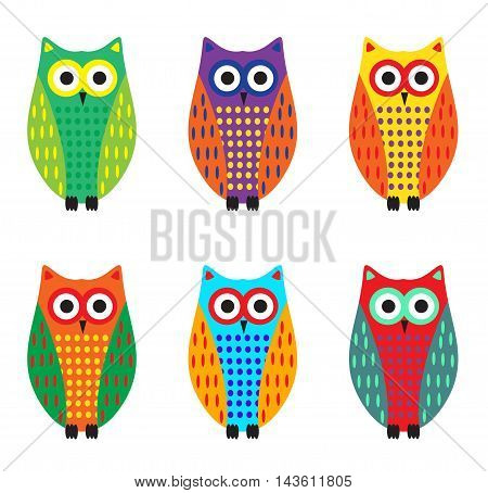 Baby owl cartoon set cute colorful owls. Vector illustration