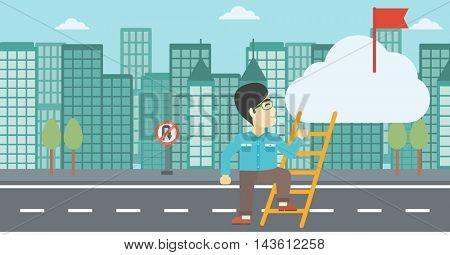 An asian young businessman climbing up the ladder to get the red flag on the top of the cloud on a city background. Vector flat design illustration. Horizontal layout.