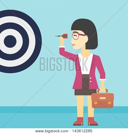 An asian young business woman with briefcase aiming at a target board. Concept of achieving of business goals. Vector flat design illustration. Square layout.