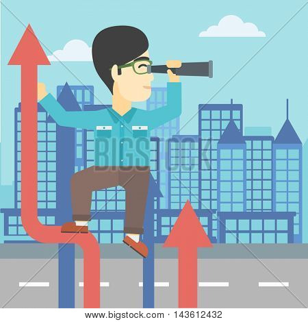 An asian young businessman standing on the top of arrow and looking through spyglass on the background of modern city. Vector flat design illustration. Square layout.