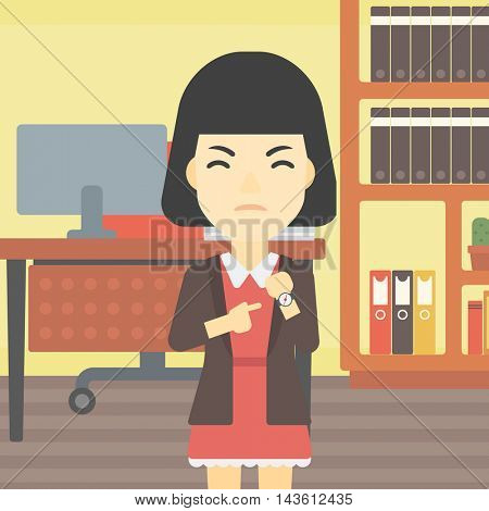 An asian  angry business woman standing in the office and pointing at her wrist watch. Vector flat design illustration. Square layout.