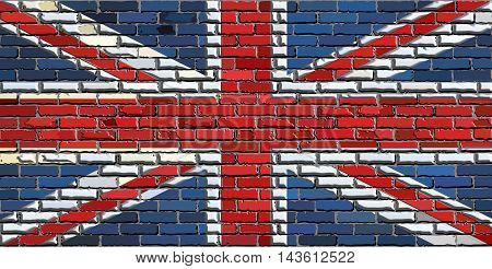 Abstract flag of Great Britain on a brick wall with effect,  United Kingdom national flag on brick textured background,  Flag of United Kingdom in brick style