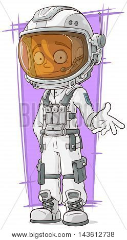 A vector illustration of cartoon astronaut in white space suit