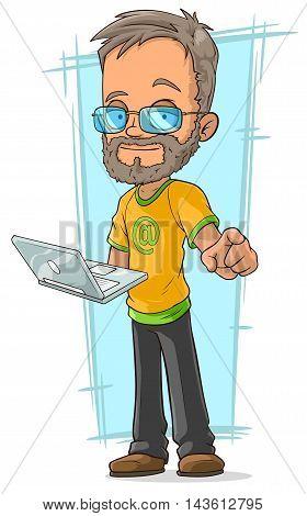 A vector illustration of cartoon bearded programmer in glasses