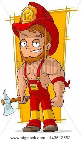 A vector illustration of cartoon cool fireman in red helmet