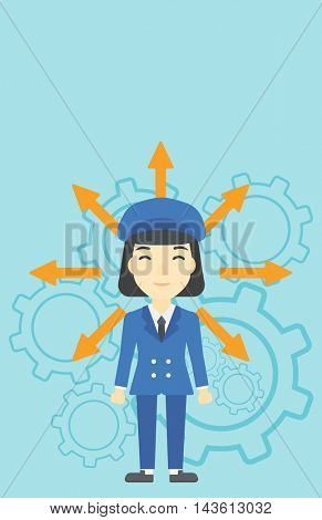 An asian  young woman with many arrows around her head standing on a blue background with cogwheels. Concept of career choices. Vector flat design illustration. Vertical layout.