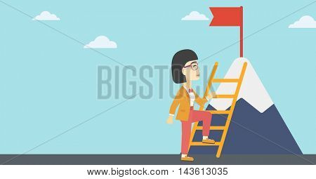 An asian business woman standing with ladder near the mountain. Business woman climbing the mountain with a red flag on the top. Vector flat design illustration. Horizontal layout.