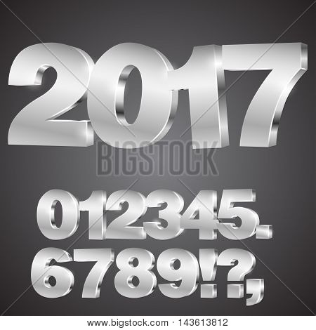 Vector 3D numbers set with 2017 happy new year title