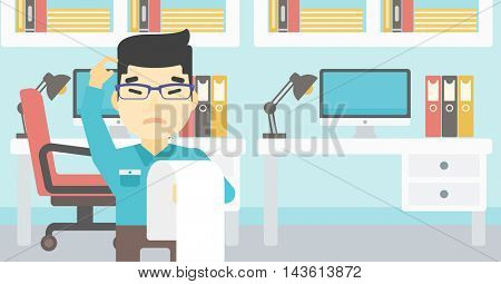 Young worried asian worried businessman standing in the office and holding a long bill. Concept of business bankruptcy. Vector flat design illustration. Horizontal layout.