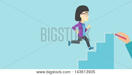 An asian  young business woman running up the stairs drawn by hand with pencile. Concept of business career. Vector flat design illustration. Horizontal layout.