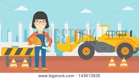 An asian engineer with a blueprint at construction site. Woman holding a twisted blueprint and hard hat. Woman checking construction works. Vector flat design illustration. Horizontal layout.