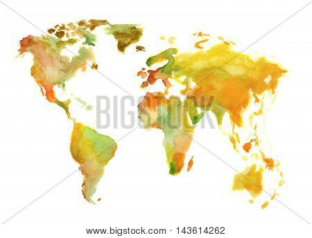 Watercolor world map. Beautiful map with lands and islands. Watercolor illustration for decoration.