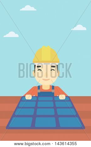 An asian man installing solar panels on roof. Technician in inuform and hard hat checking solar panels on roof. Vector flat design illustration. Vertical layout.