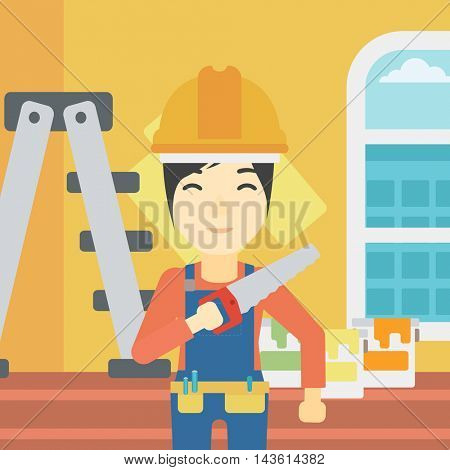 An asian female worker holding a saw in hand. A man in overalls and hard hat with saw in apartment. Vector flat design illustration. Square layout.