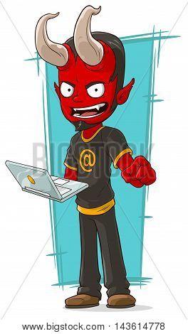 A vector illustration of cartoon devil programmer with laptop