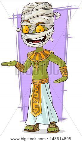 A vector illustration of cartoon funny green Egyptian mummy
