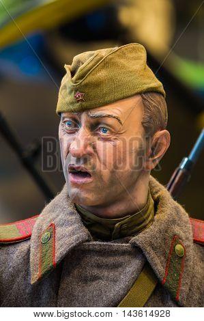 Minsk, Belarus - December 20, 2015: Soviet Belarusian Russian soldier In The Belarusian Museum Of The Great Patriotic War