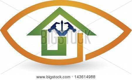 Illustration art of a home repair logo with isolated background