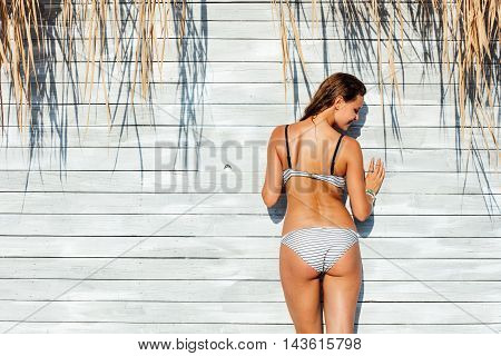 Sexy Woman In Bathing Suit Standing On Wooden Vintage Wall With Reed