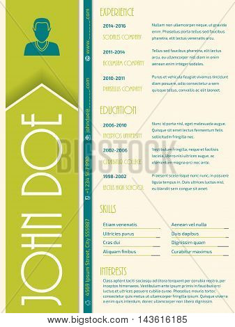 Modern cv curriculum vitae resume design with big letters for name