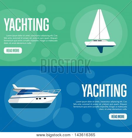 Yachting vector illustration. Sailing yacht on green background. Speedboat on blue background. Summer vacation. Travel concept. Racing yacht. Cruise vacation. Website template. Flat design banner