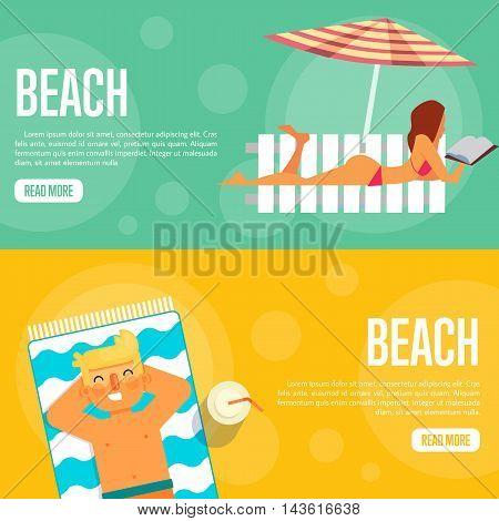 Beach vector illustration. Sexy girl sunbathes on beach under umbrella on green background. Man sunbathes on beach on orange background. Summer holidays. Website template. Flat design banner