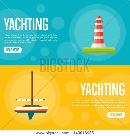 Yachting vector illustration. Sailing yacht on orange background. Striped lighthouse on blue background. Summer vacation. Travel concept. Racing yacht. Website template. Flat design banner
