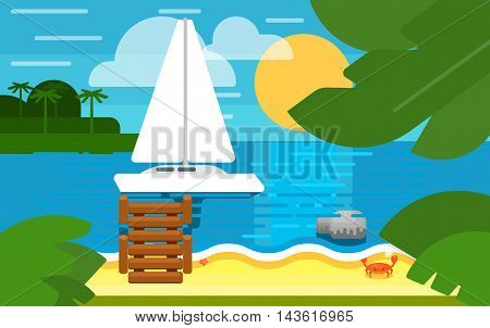 Summer banner vector illustration. Seascape with sailing yacht. Summer beach with sun lounger, sea crab, palm trees and sunset. Tropical scenery. Natural landscape. Summer vacation. Flat design banner