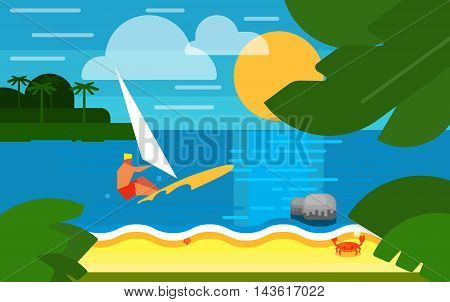 Summer banner vector illustration. Surfer riding on waves. Summer beach with sea crab, palm trees and sunset. Tropical scenery. Natural seascape. Extreme sea sports. Summer time.