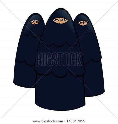 Group of muslim women in traditional black dresses