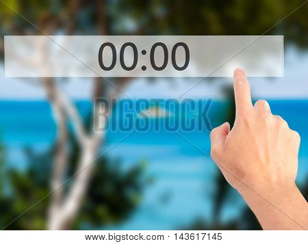 00:00 - Hand Pressing A Button On Blurred Background Concept On Visual Screen.