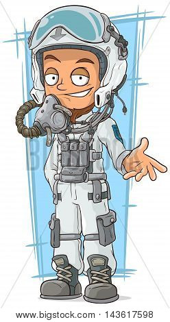 A vector illustration of cartoon pilot in cool white helmet
