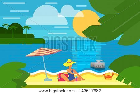 Summer banner vector illustration. Sexy girl in blue swimsuit sunbathes on beach under striped umbrella. Summer beach with sea crab, palm trees and sunset. Tropical scenery. Natural seascape.