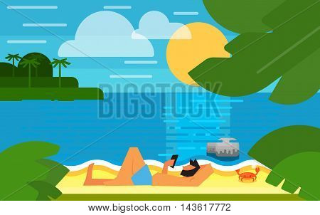 Summer banner vector illustration. Man using smartphone on beach. Summer beach with sea crab, palm trees and sunset. Tropical scenery. Natural seascape. Summer vacation. Outdoor leisure