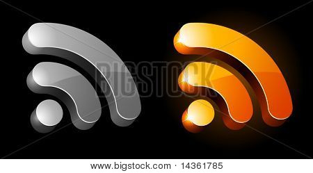 3d rss symbol. Vector illustration.