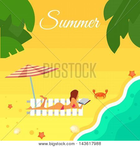 Summer banner vector illustration. Sexy girl in red swimsuit sunbathes on beach under striped umbrella. Sand beach with sea crab, palm leaves and starfish. Summer background. Natural landscape
