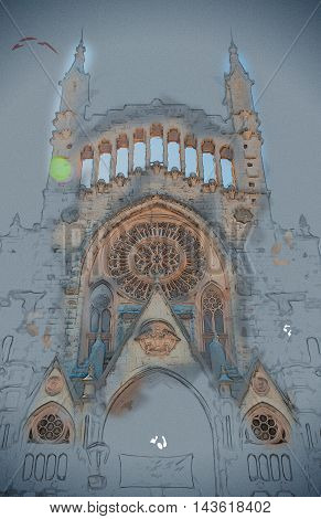 The church of Sant Bartomeu, Saint Bartholomew, in Soller, Majorca, Spain. Beautiful gothic cathedral in Spain. Vintage painting, background illustration, beautiful picture, travel texture