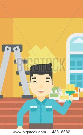 An asian painter holding a paint brush. Painter painting walls with paint brush at home. House renovation concept. Vector flat design illustration. Vertical layout.