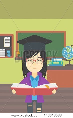 An asian graduate in graduation cap with an open book in hands. Young woman reading book on the background of classroom. Vector flat design illustration. Vertical layout.