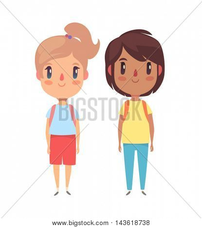 Elementary school pupils. Boy and girl. Vector character.