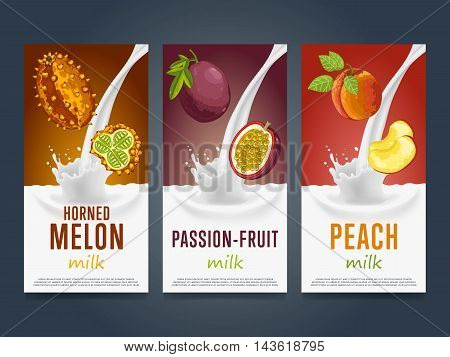 Fruits milkshake splash dessert cocktail drink with horned melon, passion fruit, peach banners set vector illustration