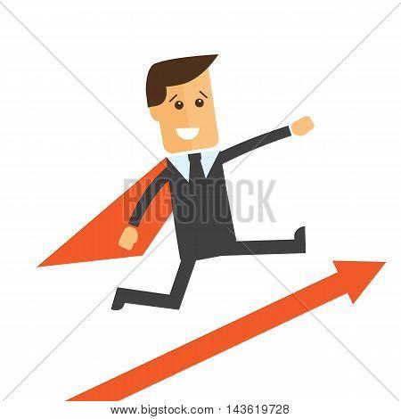 Businessman manager like a superman. Vector illustration eps 10