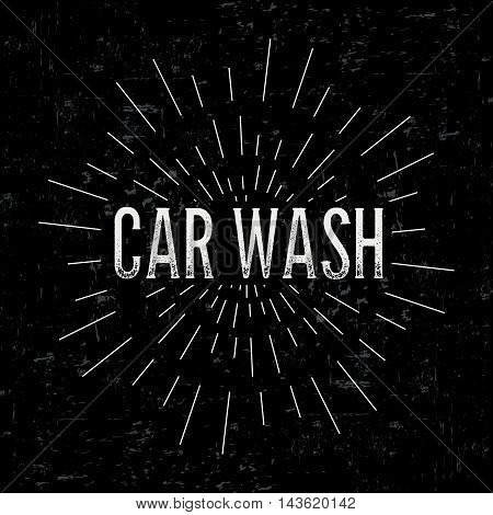 Abstract creative vector design layout with text - car wash. Vintage concept background, art template, retro elements, logo, labels, layout, badge, old banner, card. Hand made typography word.