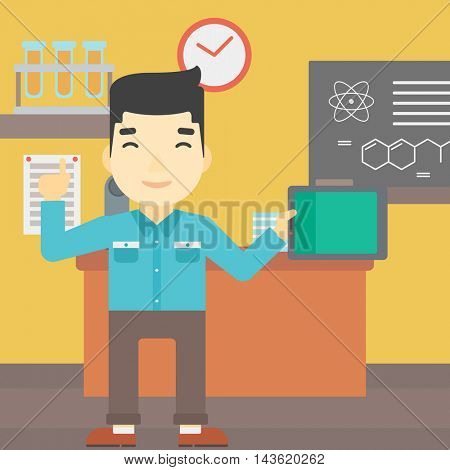 An asian student using a tablet computer in training class. Young man with tablet computer pointing forefinger up. Education technology. Vector flat design illustration. Square layout.
