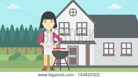 An asian woman cooking meat on the barbecue grill in the backyard. Woman preparing food on barbecue grill. Woman having outdoor barbecue. Vector flat design illustration. Horizontal layout.