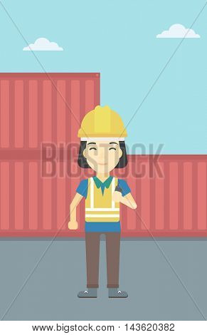 An asian port worker talking on wireless radio. Port worker standing on cargo containers background. Woman using wireless radio. Vector flat design illustration. Vertical layout.