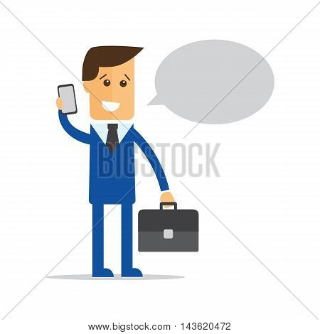 Businessman manager with a briefcase in his hand talking on a cell phone eps10