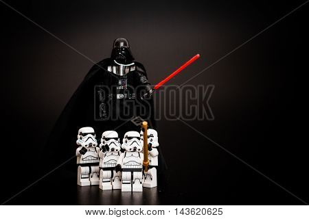 Orvieto Italy - January 12th 2015: Group of Star Wars Lego Stormtroopers mini figures take a selfie with Darth Vader. Lego is a popular line of construction toys manufactured by the Lego Group