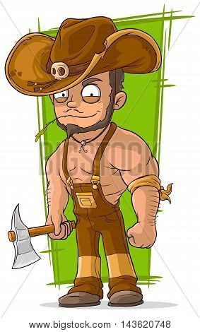 A vector illustration of cartoon strong lumberjack with axe